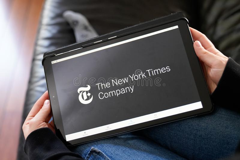 Bordeaux , Aquitaine / France - 11 25 2019 : New York Times sign logo online on screen tablet website America most popular news royalty free stock images