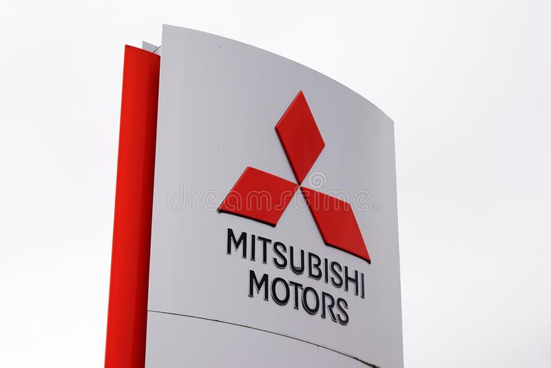 Bordeaux , Aquitaine / France - 09 24 2019 : Official car dealership sign of Mitsubishi Motors Corporation Japanese automotive. Manufacturer shop royalty free stock photo