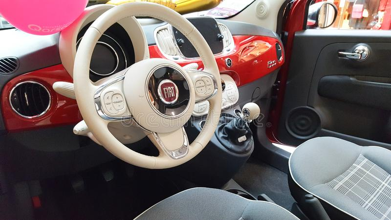 Bordeaux , Aquitaine / France - 10 17 2019 : red fiat 500 white interior dashboard in showcase dealership royalty free stock images