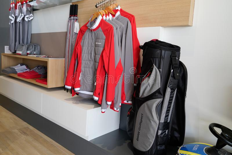 Bordeaux , Aquitaine / France - 10 11 2019 : Shopping Mall BMW Store clothing golf retail shop stock images