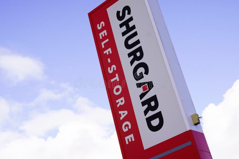 Bordeaux , Aquitaine / France - 11 07 2019 : Shurgard sign building self-storage center logo white red building stock photos
