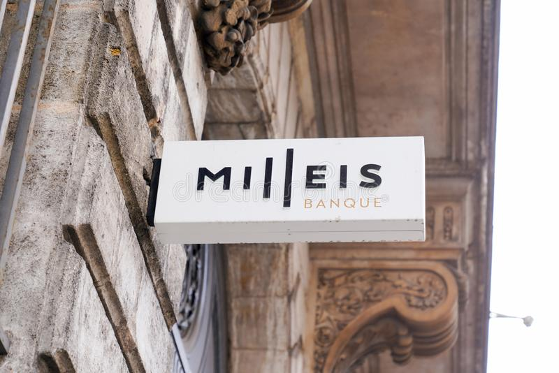 Bordeaux , Aquitaine / France - 10 06 2019 : Sign logo entrance to Milleis french branch of Barclays Bank office Paris France stock photography