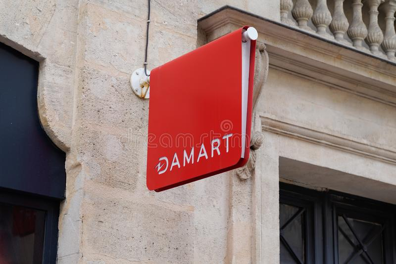 Bordeaux , Aquitaine / France - 10 06 2019 : sign store Damart Logo shop insulating clothes household name stock image