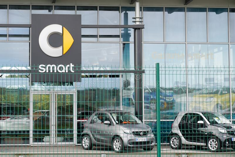Bordeaux , Aquitaine / France - 10 15 2019 : smart dealership sign in front dealership showroom German automotive company division. Of mercedes Daimler AG royalty free stock photo