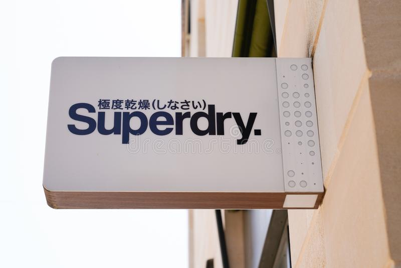 Bordeaux , Aquitaine / France - 09 18 2019 : Superdry store sign shop UK branded clothing company royalty free stock images