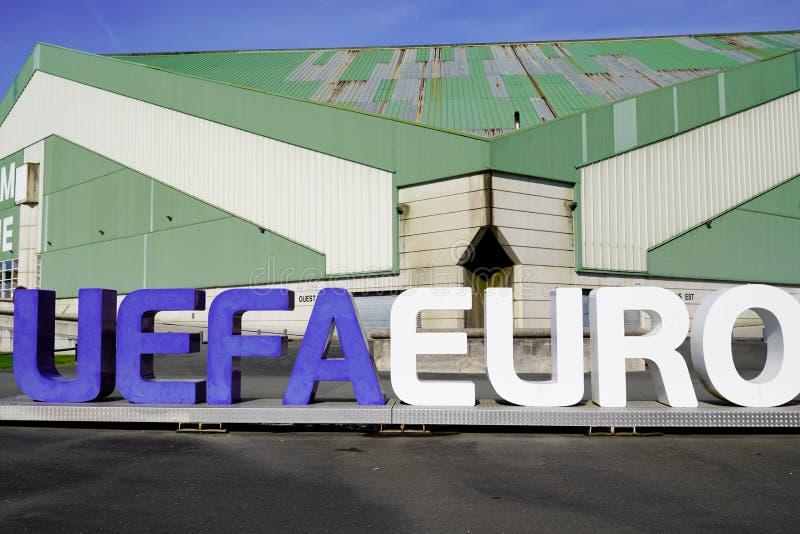 Bordeaux , Aquitaine / France - 11 07 2019 : Uefa Champions League EURO big letters advertising sign street logo. Bordeaux  , Aquitaine / France - 11 07 2019 royalty free stock photography