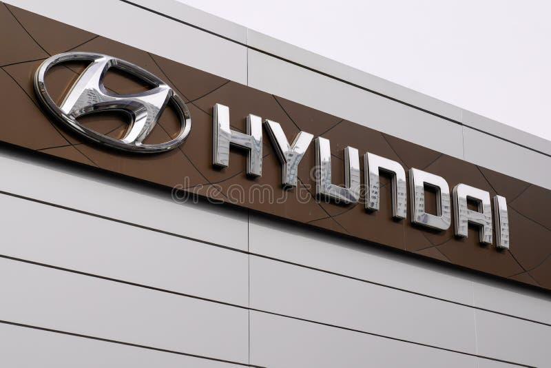 Bordeaux , Aquitaine / Francia - 10 novembre 2019 : Logo Hyundai Automobile Dealership Store Motorship Company Sud Coreana immagini stock libere da diritti