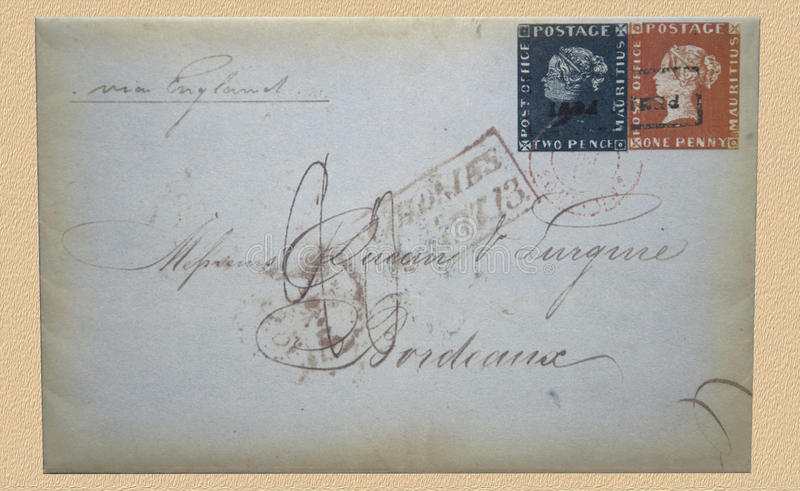The Bordeaux cover of Mauritius. Replica of the Bordeaux cover.Blue and Red Mauritius stamps. The letter, valued around four million euro stock images