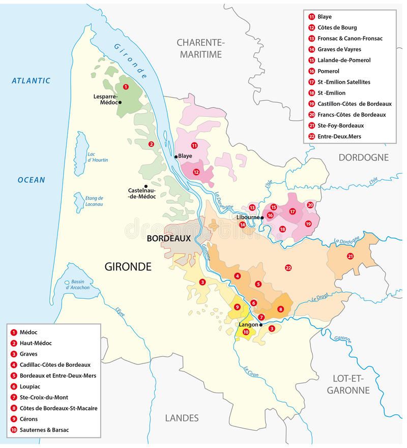 Bordeaux de région de vin, carte illustration libre de droits