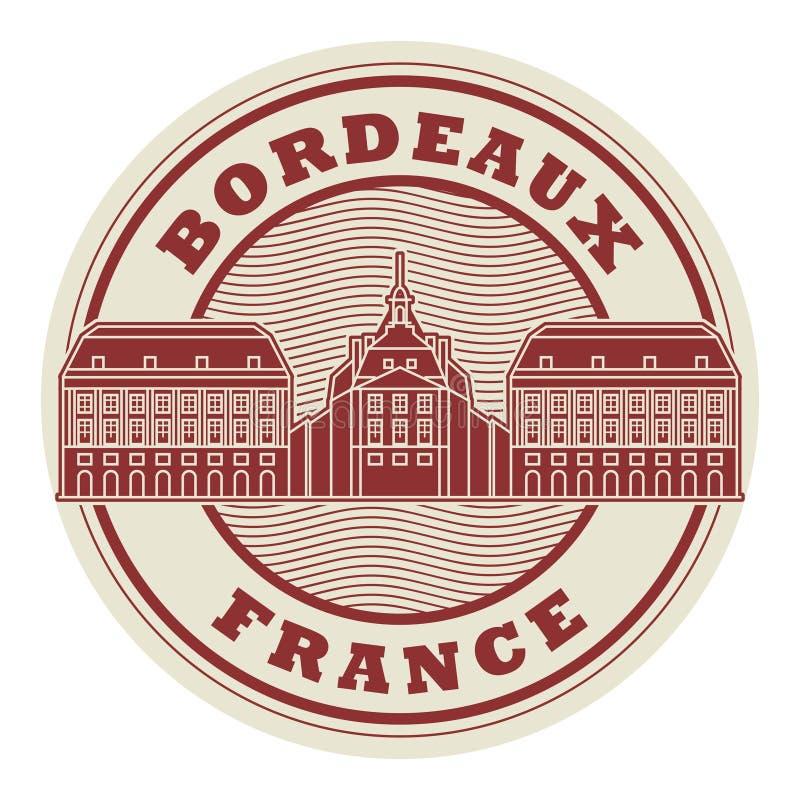 Bordeaux de timbre ou de label, France illustration de vecteur