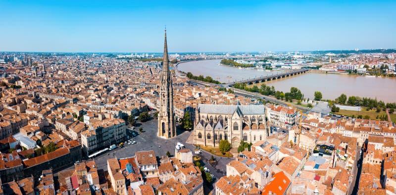 Bordeaux flyg- panoramautsikt, Frankrike arkivfoto