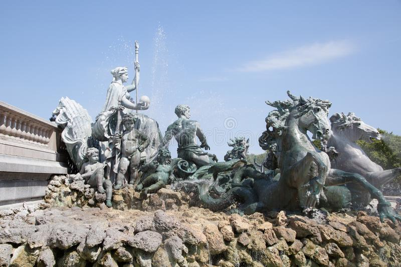 Bordeaux fountain of the Girondins monument bronze horses place des Quinconces gironde France. A Bordeaux fountain of the Girondins monument bronze horses place royalty free stock photos