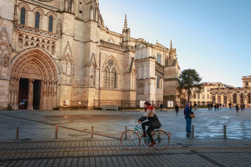 Architectural detail of the Cathedral Saint Andre de Bordeaux royalty free stock photos
