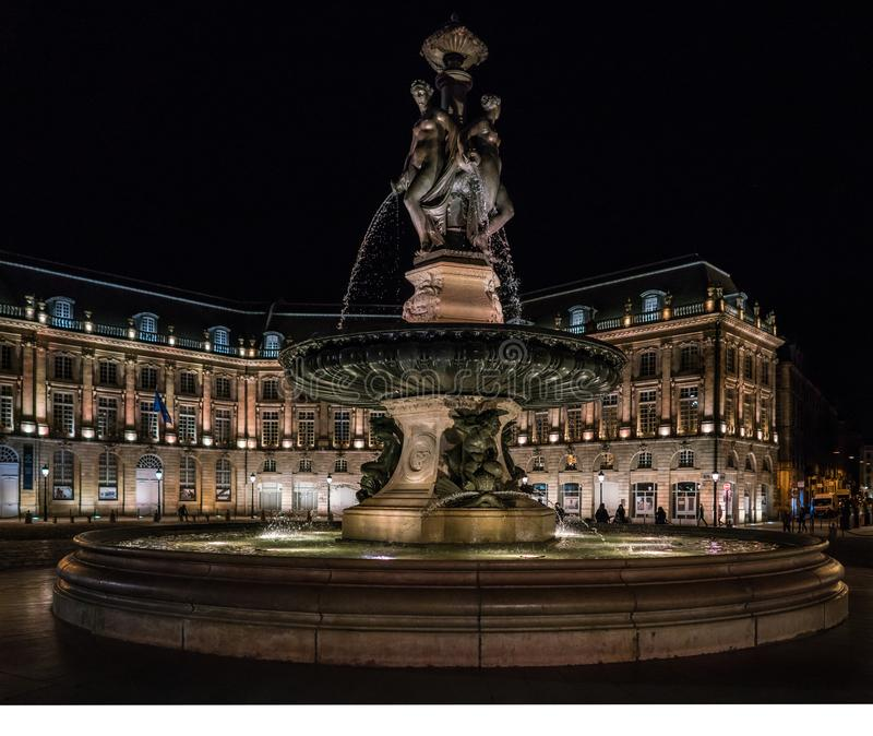 Bordeaux, France, 10 may 2018 - Tourists visiting the Place de l stock image