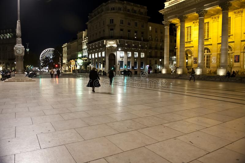 Bordeaux, France, night at Grand Theatre royalty free stock photography