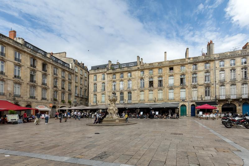Parliament Square or Place du Parlement . Historic square featuring an ornate fountain, cafes and restaurants in Bordeaux,. Bordeaux, France - September 9, 2018 royalty free stock photography