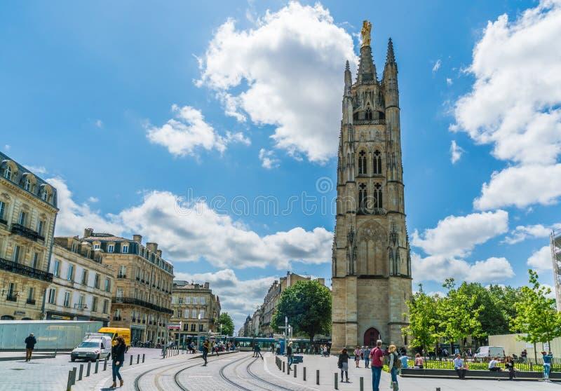 Bordeaux, Frankreich, 9 kann 2018 - die Einheimischen und Touristen, welche die T führen lizenzfreie stockbilder