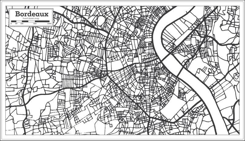 Bordeaux-Frankreich-Stadtplan im Retrostil Antilocapra Americana vektor abbildung