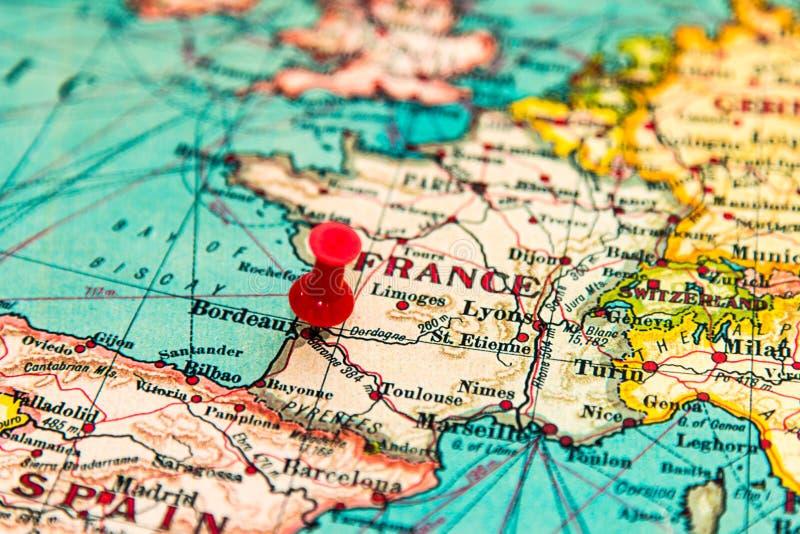 Bordeaux, Frankrijk op uitstekende kaart van Europa wordt gespeld dat stock fotografie