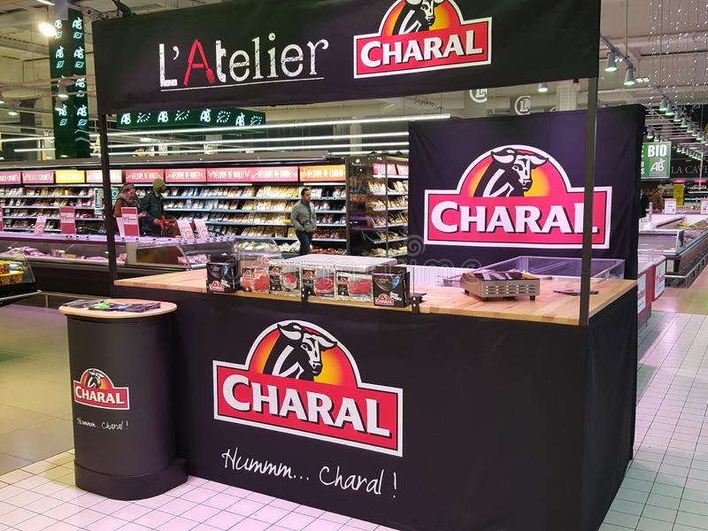 Bordeaux, gironde France - December 06 2018 - marketing butcher stand for industrial meal charal in supermarket royalty free stock photos