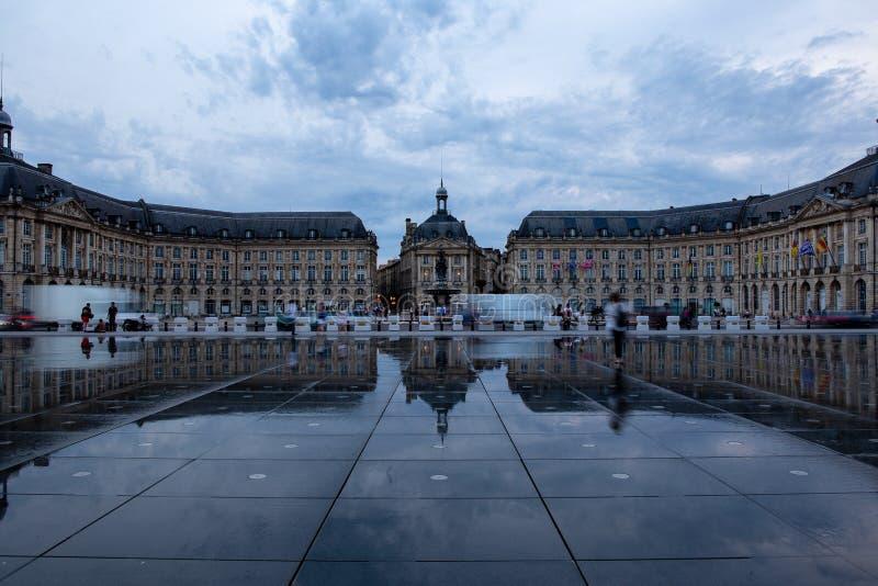 BORDEAUX, GIRONDE/FRANCE - June 6, 2017 : Miroir d`Eau at Place de la Bourse in Bordeaux. Unidentified people. Place de la Bourse is a square in Bordeaux, France stock images