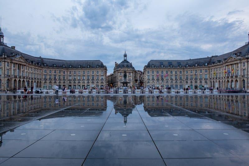 BORDEAUX, GIRONDE/FRANCE - June 6, 2017 : Miroir d`Eau at Place de la Bourse in Bordeaux. Unidentified people. Place de la Bourse is a square in Bordeaux, France stock photo