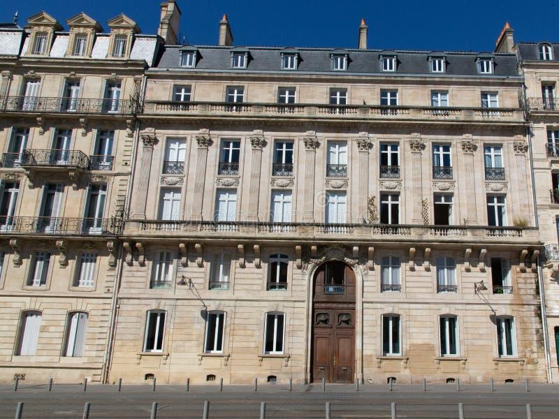 Bordeaux like Paris attractive Haussmann buildings in chic area street stock photos