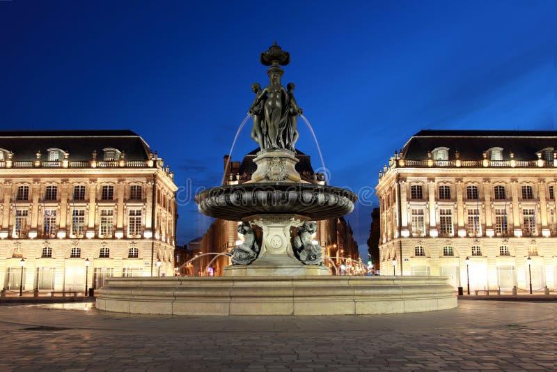 Bordeaux Place de la Bourse. The Place de la Bourse in Bordeaux was designed by the royal architect Jacques Ange Gabriel in 1775 royalty free stock photography