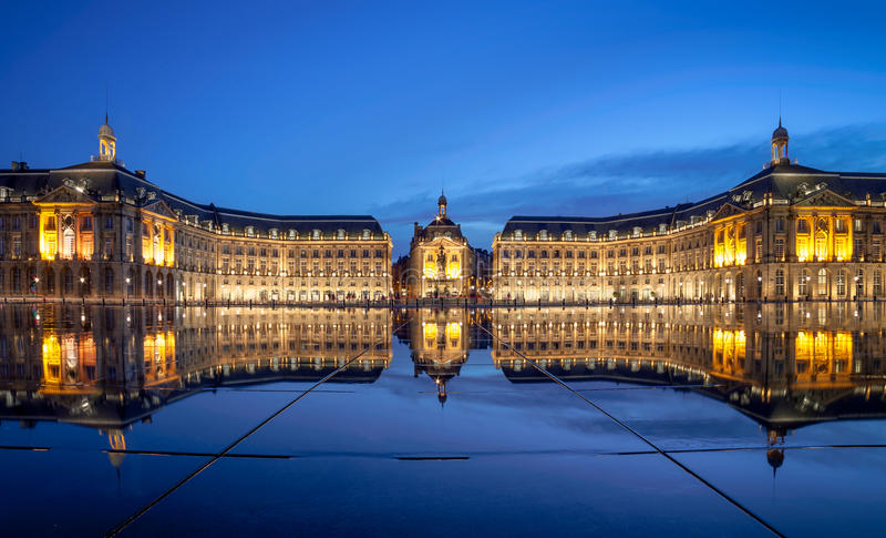 Bordeaux, Place de la Bourse Miroir d eau. Place de la Bourse is one of the most recognizable sights of Bordeaux. Its architect was Ange-Jacques Gabriel. It was royalty free stock photography