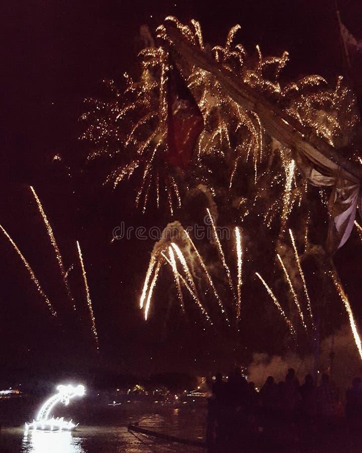 Fireworks in Bordeaux stock image