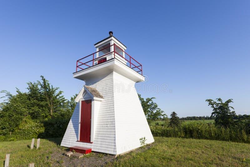 Borden Wharf Lighthouse in de Baai van Fundy stock afbeeldingen