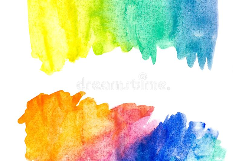 Border of abstract watercolor art hand paint on white background. Watercolor background royalty free stock photos
