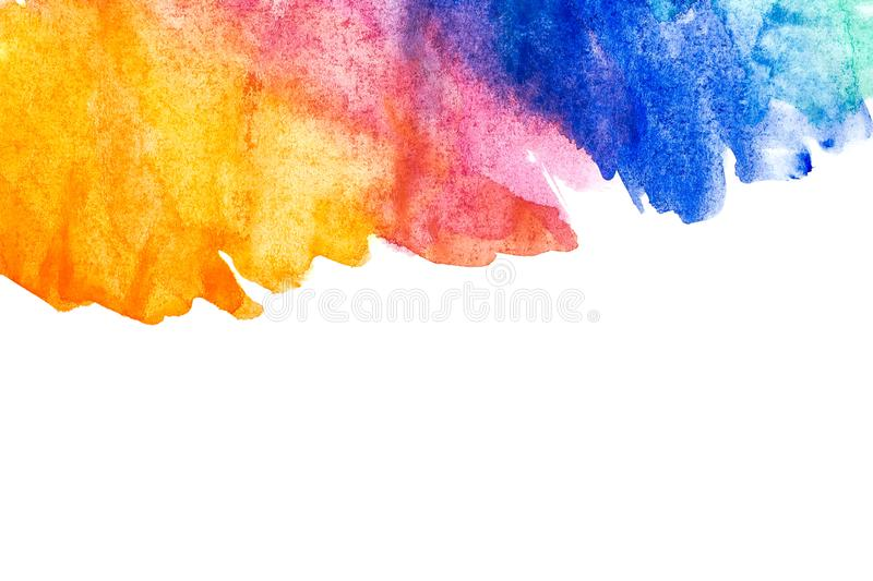 Border of abstract watercolor art hand paint on white background. Watercolor background stock photo