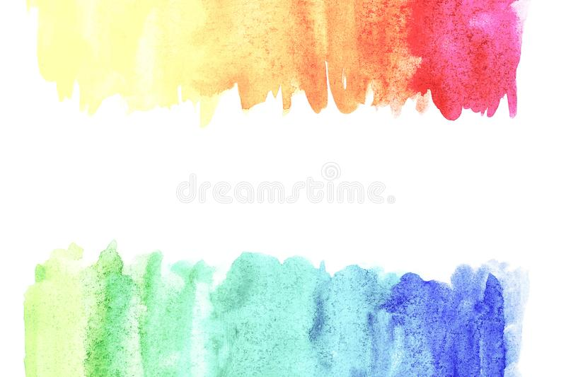 Border of abstract watercolor art hand paint on white background. Watercolor background stock illustration