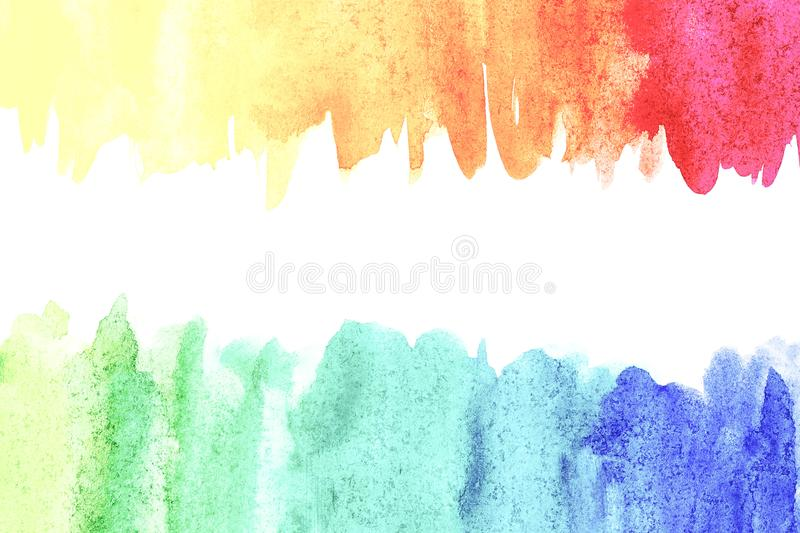 Border of abstract watercolor art hand paint on white background. Watercolor background. Border of abstract watercolor art hand paint isolated on white stock illustration