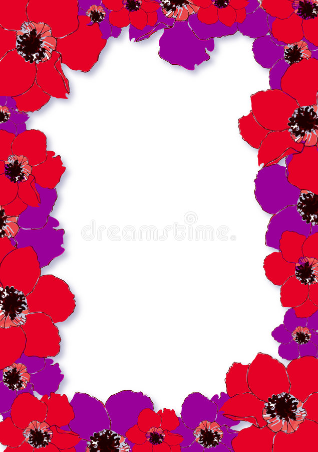 Border with Anemones vector illustration