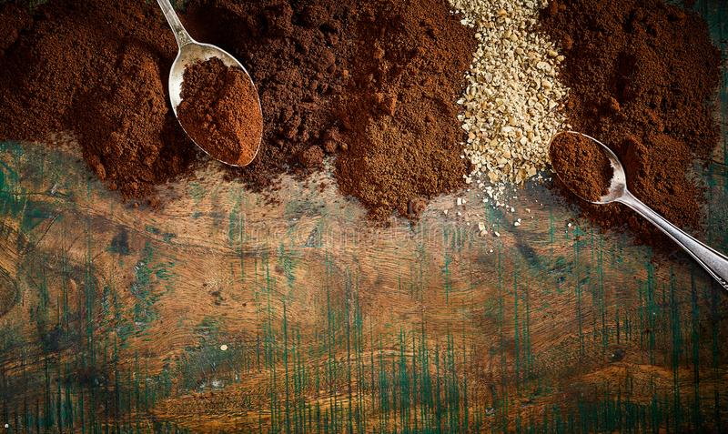 Border of assorted exotic fresh ground coffee royalty free stock images