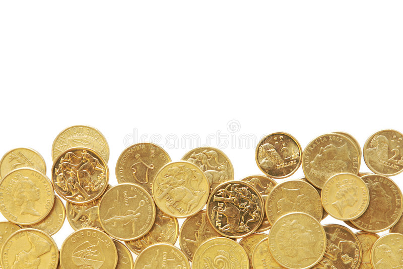 Border of Australian Coins. Border of Australian One Dollar and Two dollar coins royalty free stock image
