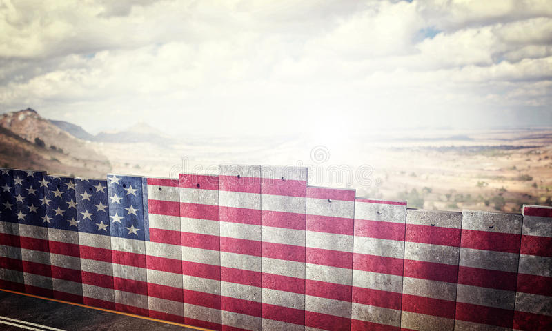 Border barrier concept. With usa flag 3d rendering image vector illustration