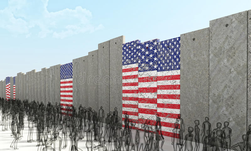 Border barrier concept. With usa flag 3d rendering image royalty free illustration