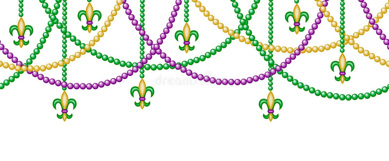Border with beads. Mardi gras horizontal seamless border with beads stock illustration