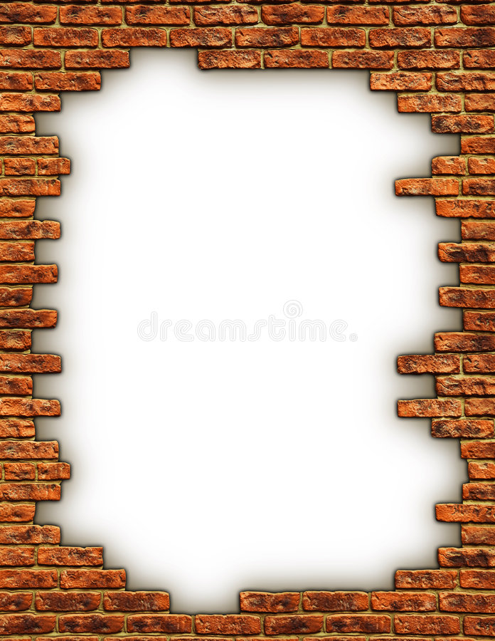 Border of Bricks. An illustrated background of an open white surface with a border of a brick wall