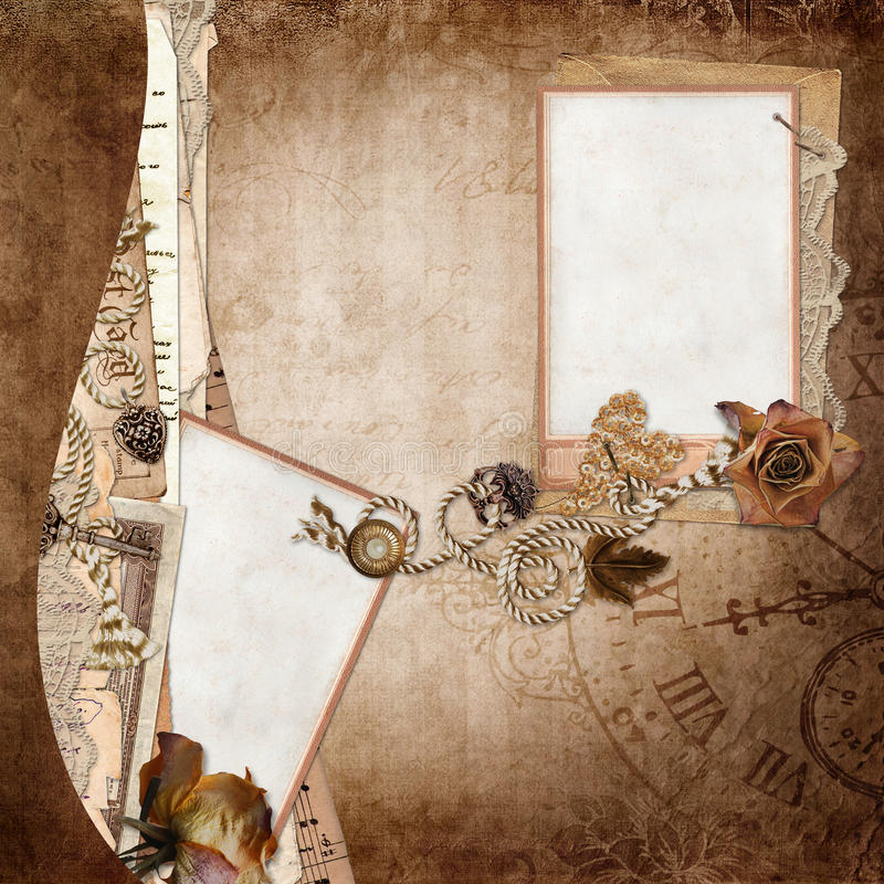 Border with cards, old letters, documents on vintage background vector illustration