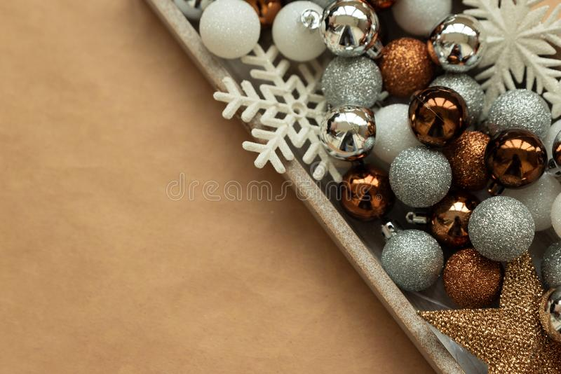 Border of Christmas decoration with christmas glass baubles, snowflakes and star. Christmas and New Year holidays concept. Copy stock images