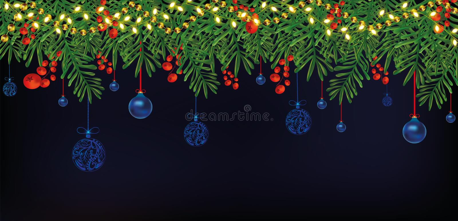 Border with Christmas green branches, holly red berries on dark blue background. Christmas blue balls hanging on tree royalty free illustration