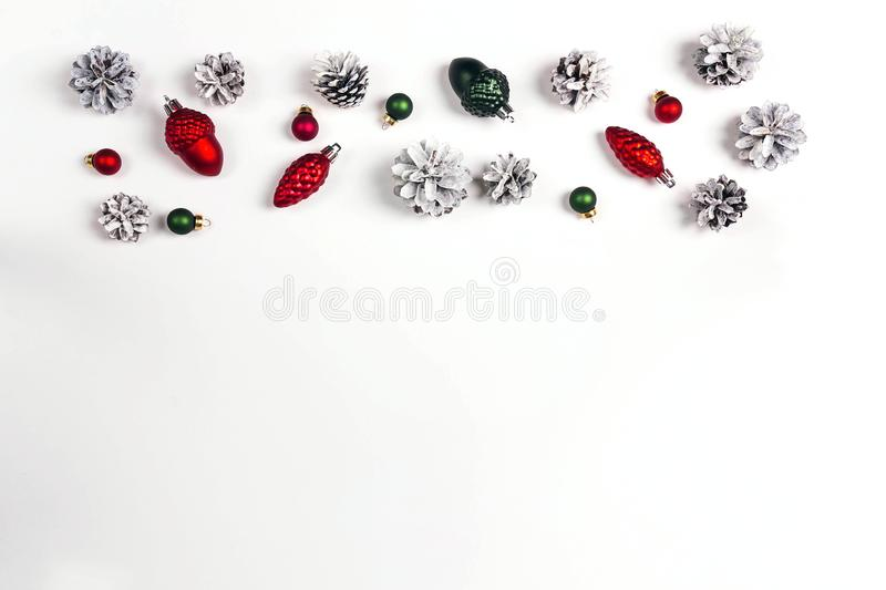 Border from Christmas holiday decorations on white background wi stock photo