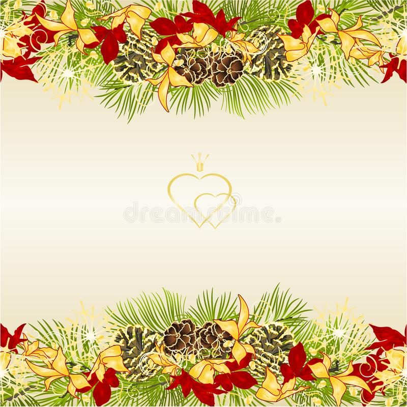 Border Christmas and New Year decoration festive golden and red leaves poinsettia three and fir tree branch pine cones and golden. Snowflakes vintage vector stock illustration