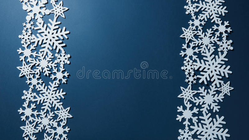 Border of Christmas snowflakes. Christmas card with Border of Christmas snowflakes stock images