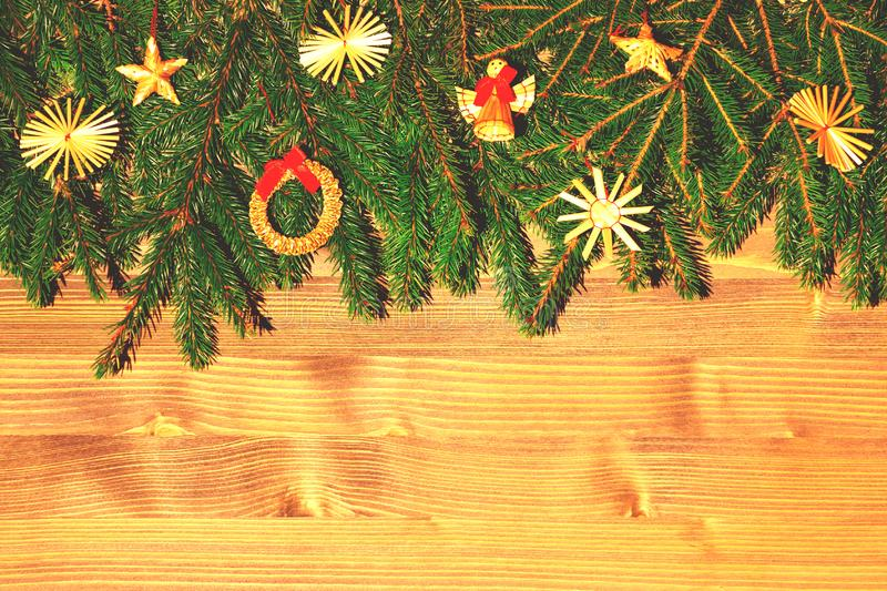 Border with Christmas tree branches and decorations. Copy space for text.  stock photos