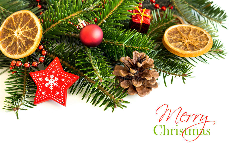 Border With Christmas Tree Branches And Decorations. Border With Christmas Tree Branches And Festive Decorations stock image